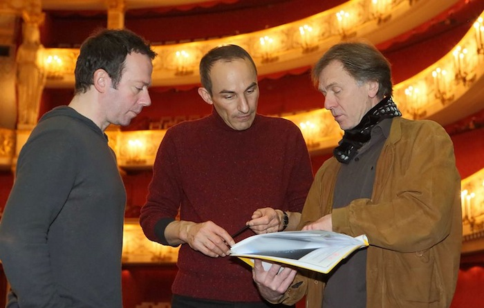 Alexei Ratmansky, Jerome Kaplan and Ivan Liska at the Paquita tech rehearsal. Photo by Wilfried Hall.