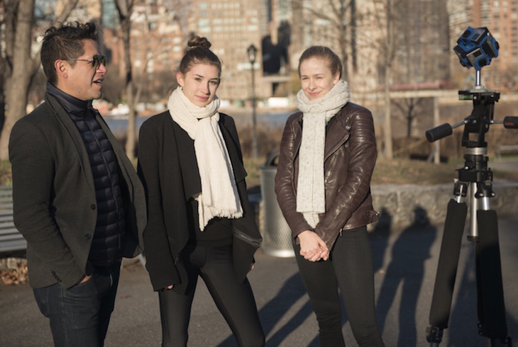 Choreographer David Fernandez with New York City Ballet dancers Alexa Maxwell and Laine Habony on set during the filming of DANCEIMMERSIVE's first video