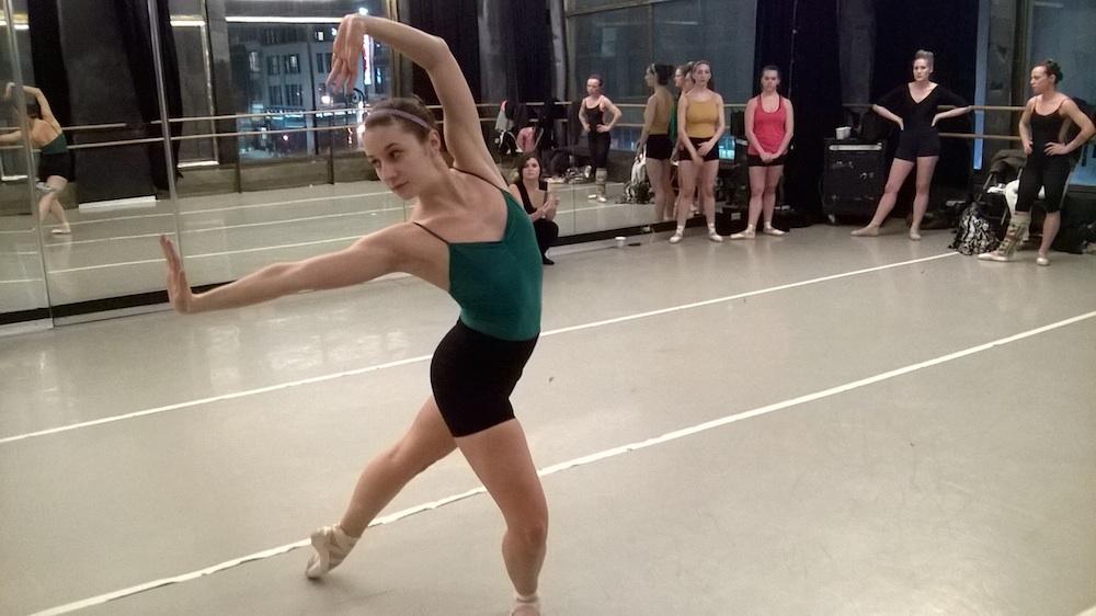 XAOC dancer Debra Bona rehearses while Eryn and the company look on