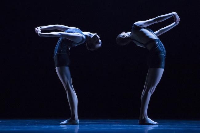 Hubbard Street dancers Alice Klock, left, and Emilie Leriche in Fluence
