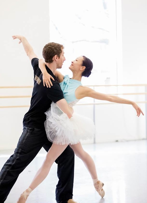 Oregon Ballet Theatre's Xuan Cheng (as Cinderella) and Brian Simcoe (as Prince Charming) in rehearsal for the company premiere of Ben Stevenson's Cinderella. Photo by Blaine Truitt Covert