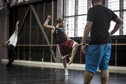 Sydney Dance Company in the studio with Rafael Bonachela rehearsing Frame of Mind