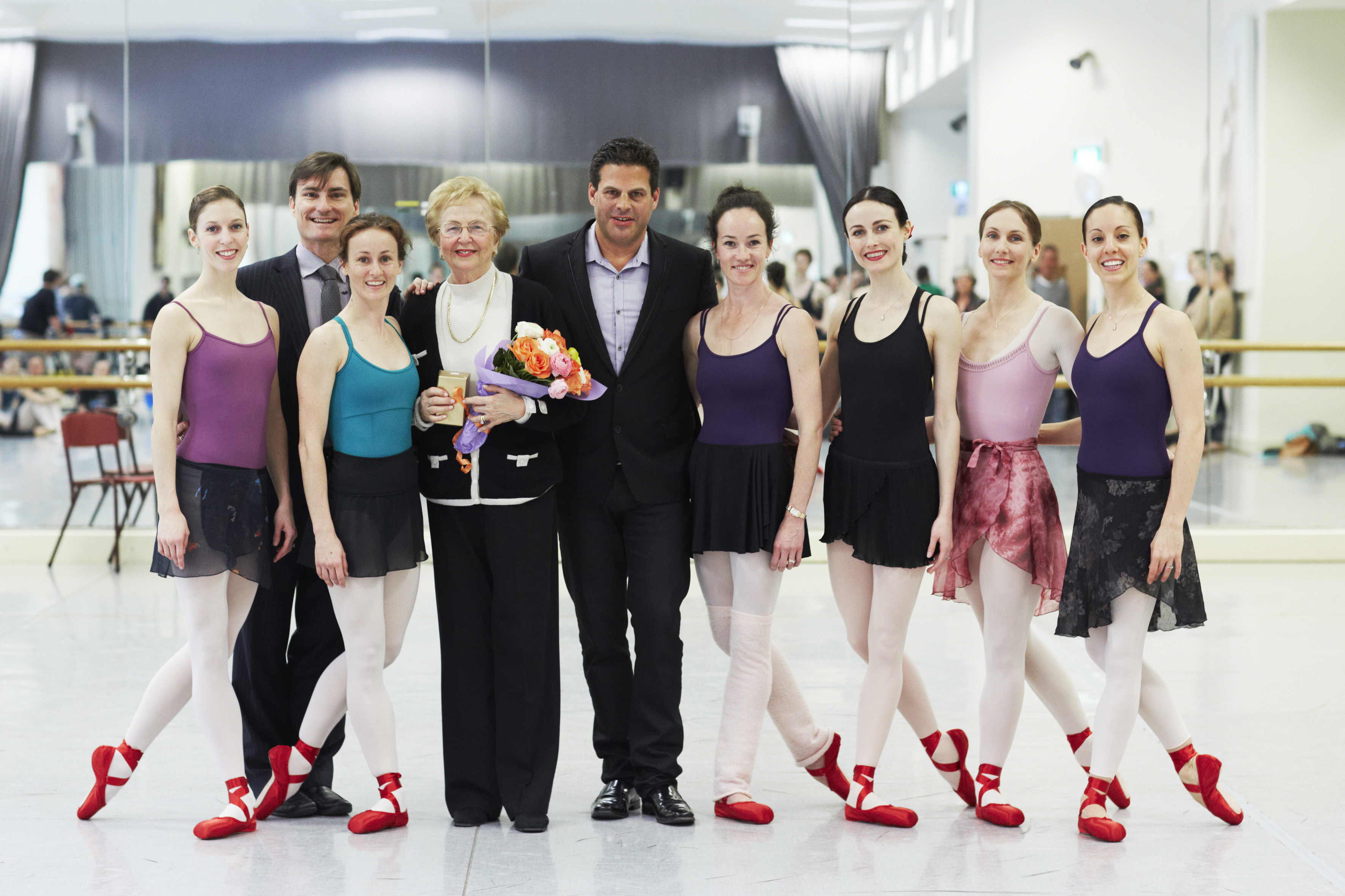 Betty Bloch and Simon Wilkenfeld of Bloch with David McAllister and dancers of The Australian Ballet. Photo by JamesBraund.