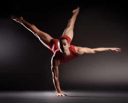 Bruce Wood Dance Project dancer in flying squirrel