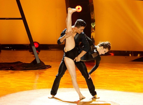 Top 6 contestant Paul Kamiryan and all-star dancer Kathryn McCormick in a Jazz routine