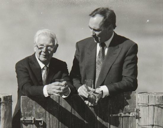 Arthur Boyd and Paul Keating at the gate