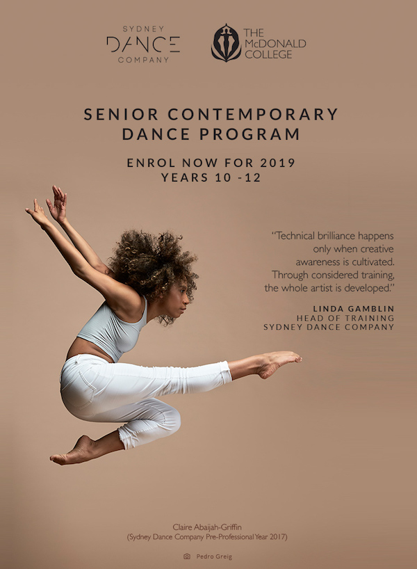 The McDonald College partners with Sydney Dance Company