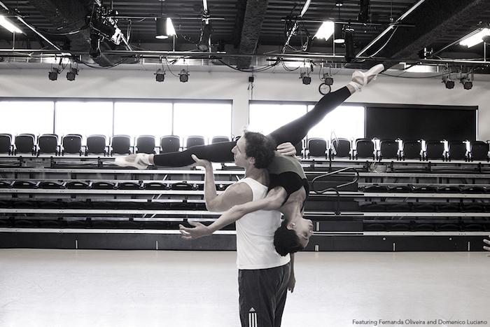 Fernanda Oliveira and Domenico Luciano rehearse choreography by Yosvani Ramos
