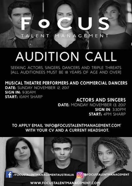 Sydney Talent Agency auditions 2017