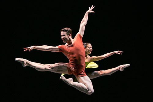Pacific Northwest Ballet's Benjamin Griffiths and Carrie Imler in a Forsythe work. Photo by Angela Sterling