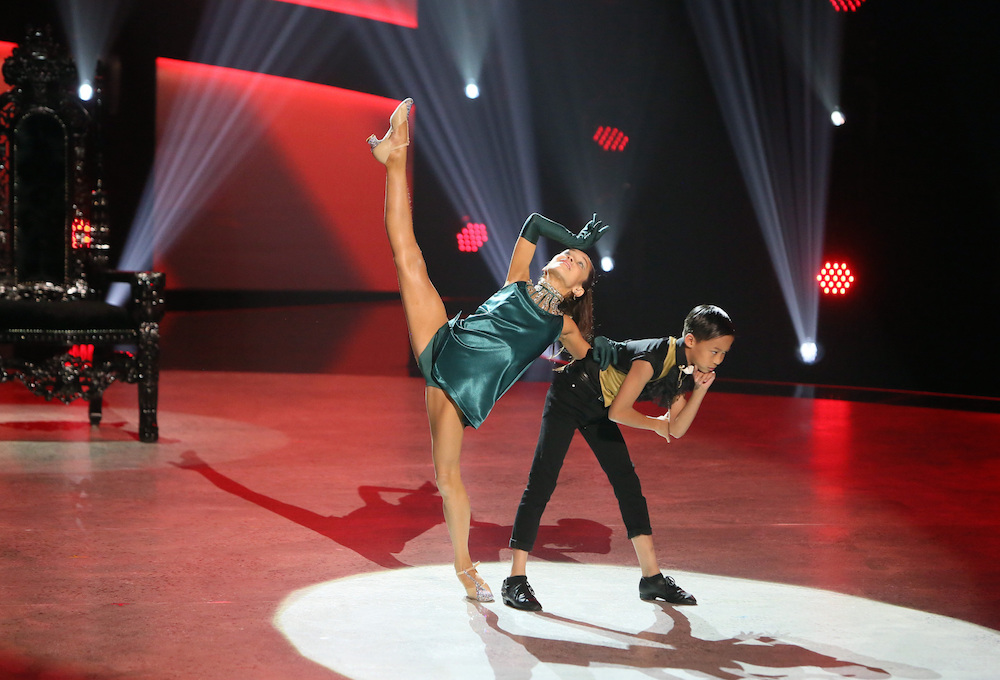 Top 10 contestants Daniela and Sheaden perform a Broadway routine to